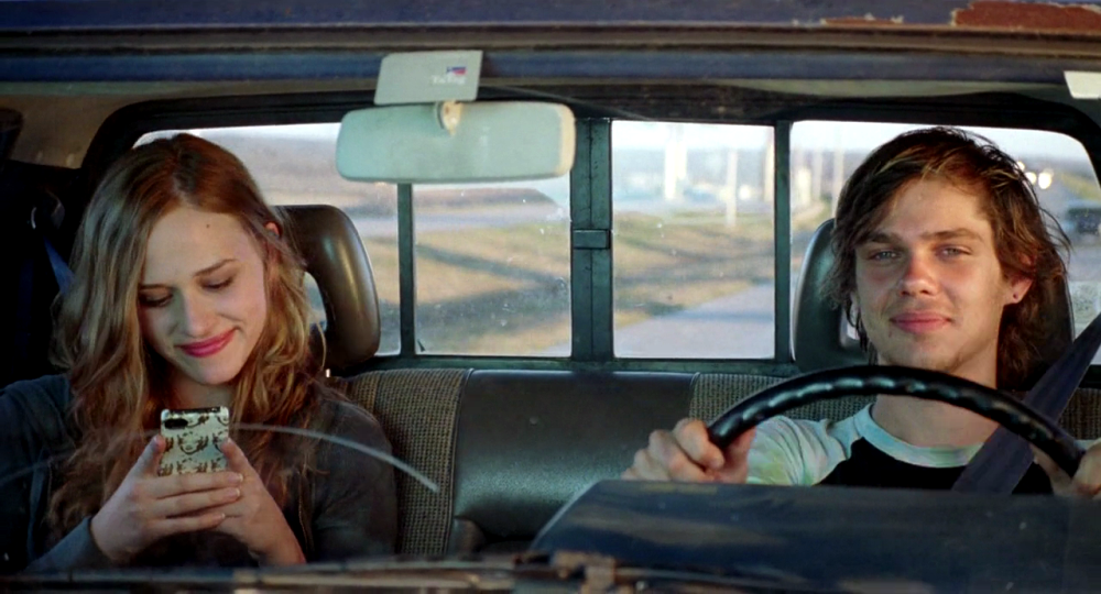 still of mason and sheena together in a car in boyhood movie