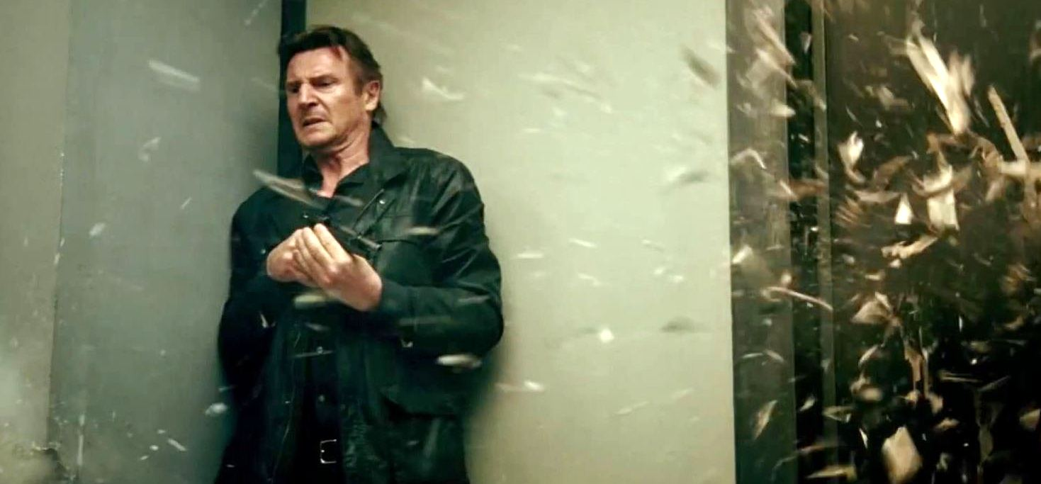 still of liam neeson as Bryan Mills in Taken 3 movie