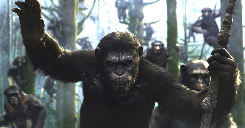 still of Caesar from dawn of the planet of the apes movie