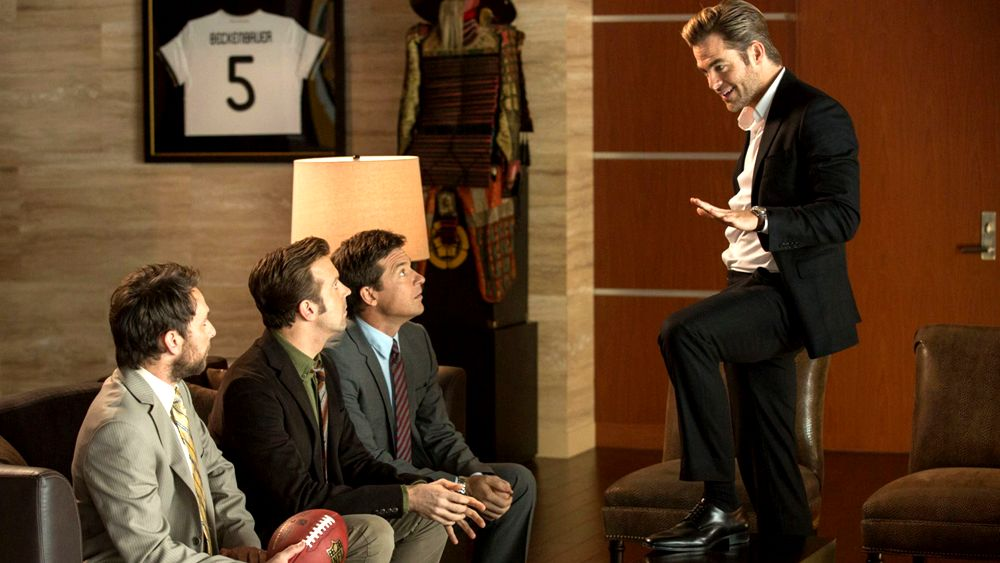 still of chris pine addressing trio in horrible bosses 2 movie