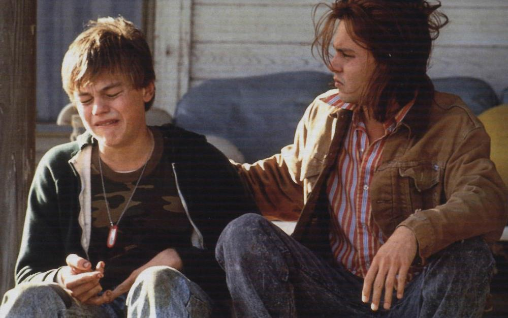 still of Johnny Depp and Leonardo DiCaprio in Whats eating gilbert grape movie wallpaper