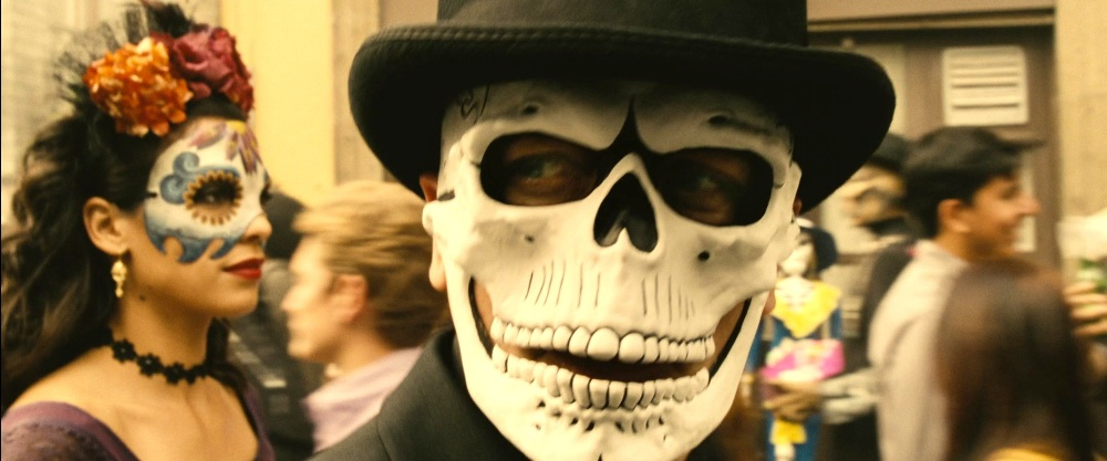 still of james bond wearing spectre mask