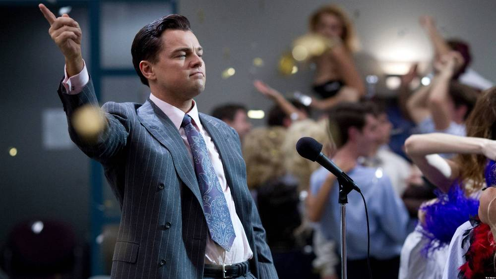 still of Leonardo DiCaprio from the wolf of wall street top 15 movies of Leonardo DiCaprio