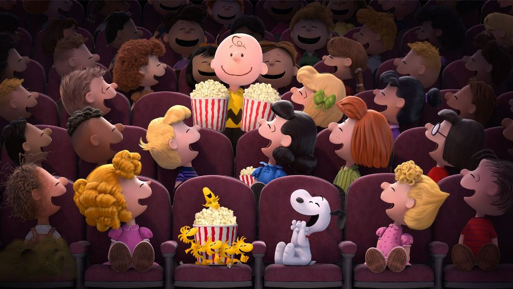 Still from The Peanuts Movie theater laughing at Charlie Brown
