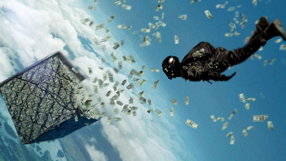 still from point break movie wallpaper money heist sky diving