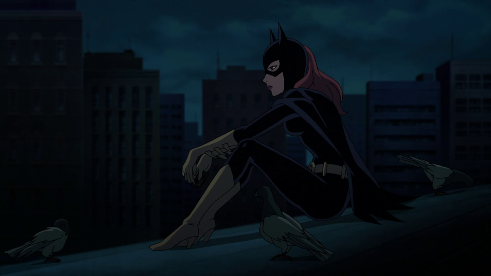 still of batgirl sitting with birds pigeons in batman the killing joke