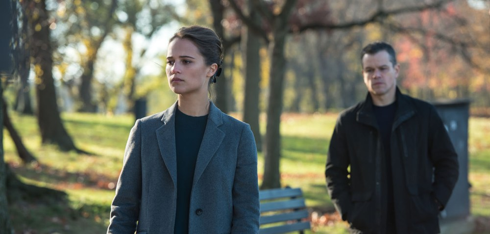 still of Alicia Vikander and Matt Damon in Jason Bourne