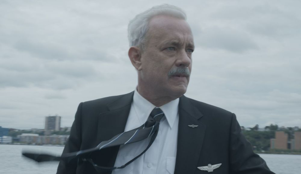 still of Tom Hanks as Chesley Sullenberger from Sully movie