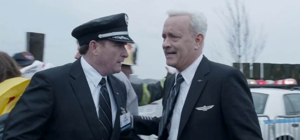 still of a worried Tom Hanks as Sully from Sully movie