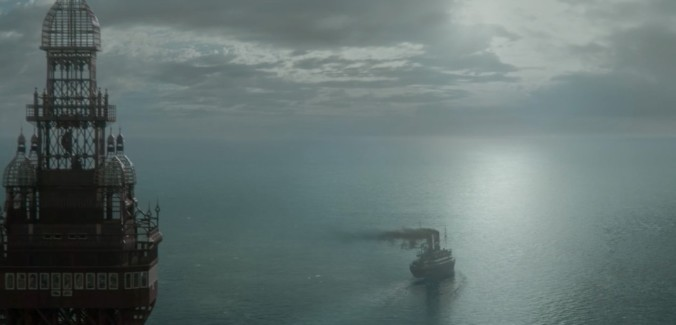 still from miss peregrine's movie final scene ship