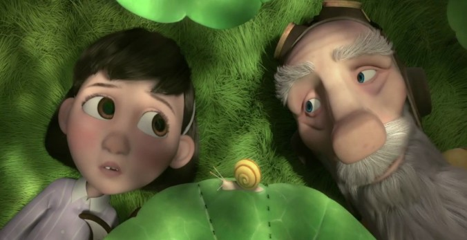 still of the little girl and the aviator in the little prince movie