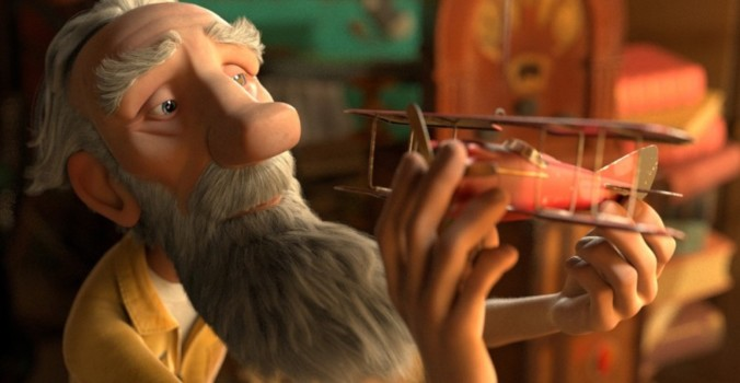 still of the old aviator with his plane in the little prince movie