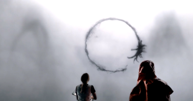 still of alien letters and symbols from Arrival movie