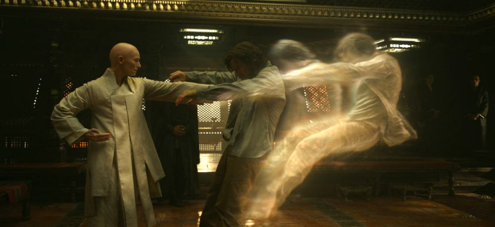 still of tilda swinton the ancient one showing doctor strange astral plane
