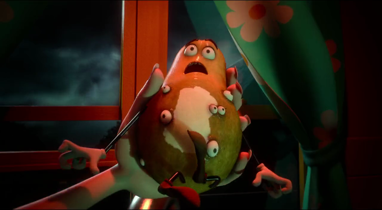 still of potato being peeled by God in Sausage Party movie