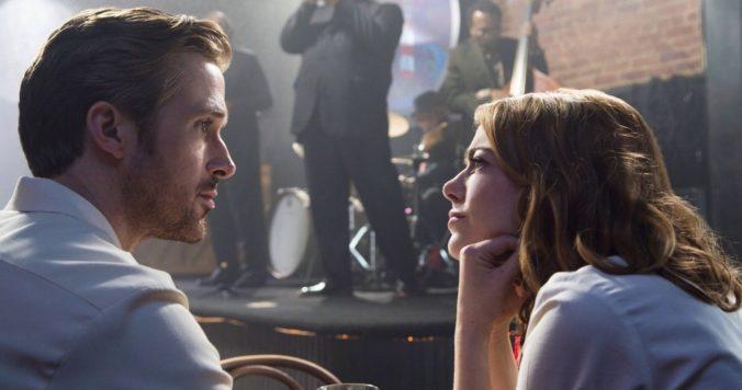 image of Ryan Gosling and Emma Stone as Sebastian and Mia in La la land movie