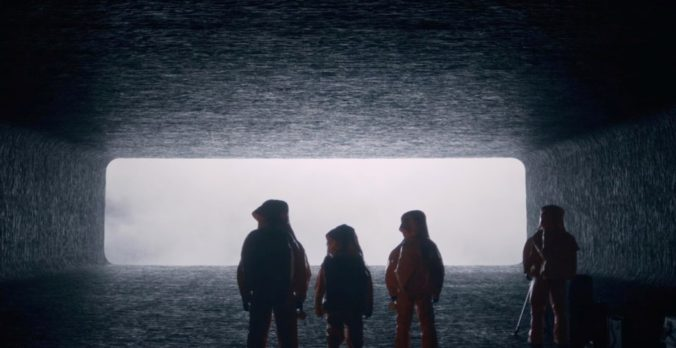 image of cast in Arrival Movie suited up to meet heptapods
