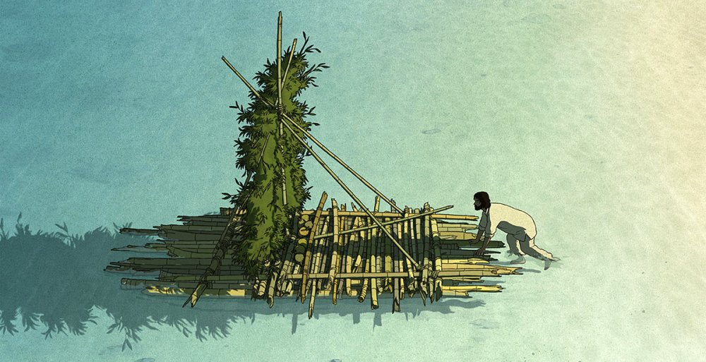 The Red Turtle Movie Still of Man Trying to go on a Raft