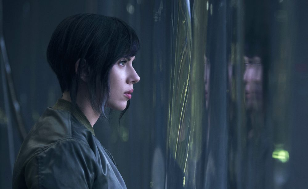 still of Scarlett Johansson as Mira Killian in Ghost in the Shell movie