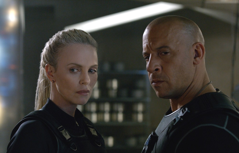 still of charlize theron as cipher and vin diesel as dom in the fate of the furious