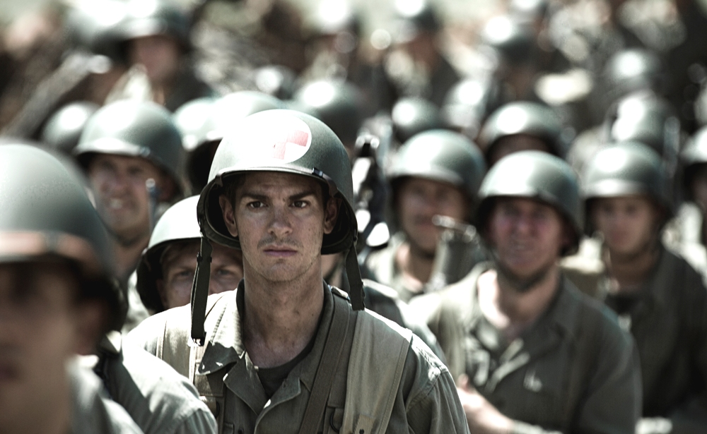 still of andrew garfield as desmond doss in hacksaw ridge movie