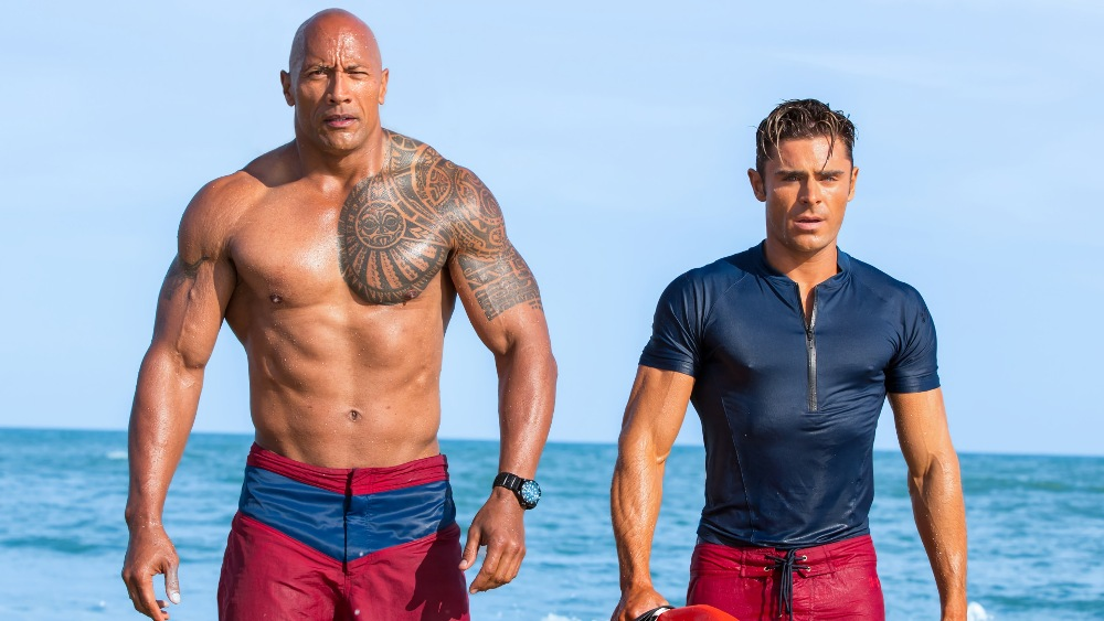baywatch movie hunks rock and zac efron
