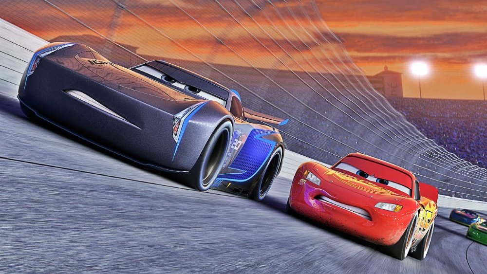 still of lightning mcqueen and jackson storm in cars 3