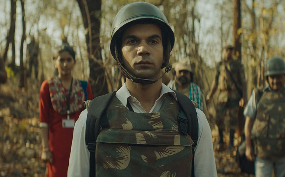 Newton movie still of Rajkummar Rao