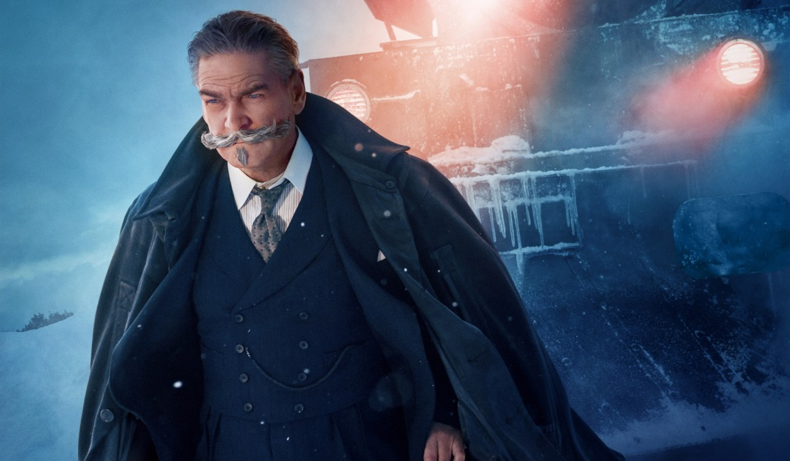 Murder on the Orient Express movie still of Hercule Poirot played by Kenneth Branagh