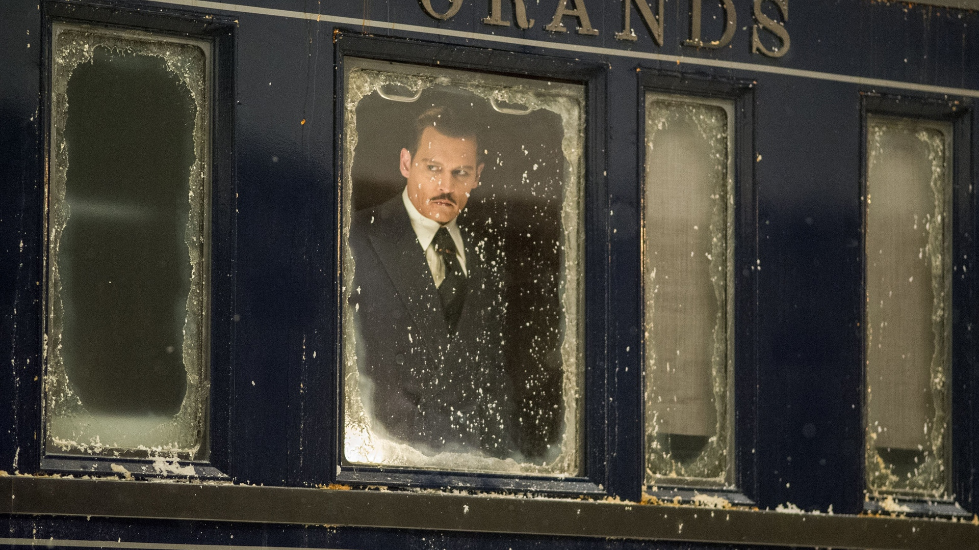 still of Johnny Depp as Ratchett in Murder on the Orient Express
