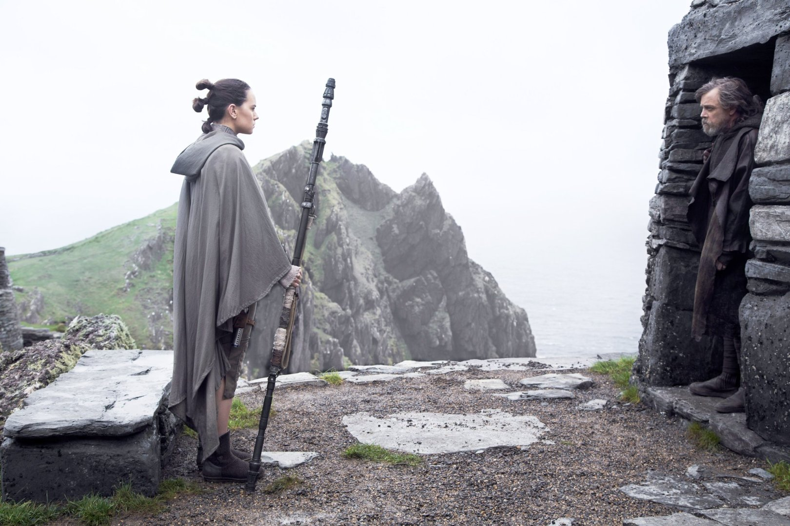 Rey and Luke in Star Wars The Last Jedi