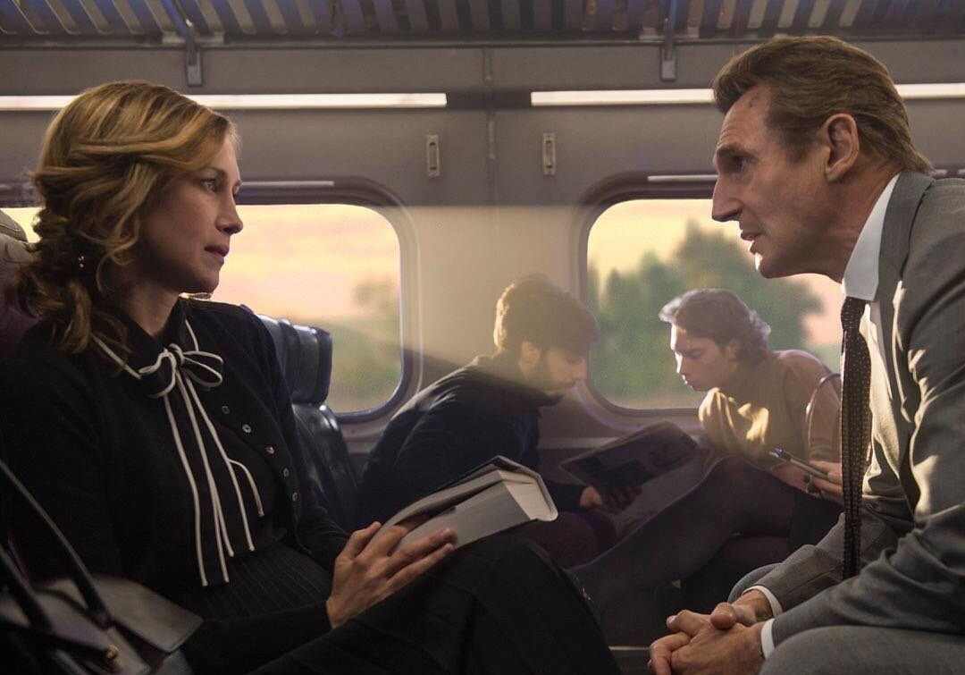 the commuter movie scene liam neeson and vera farmiga