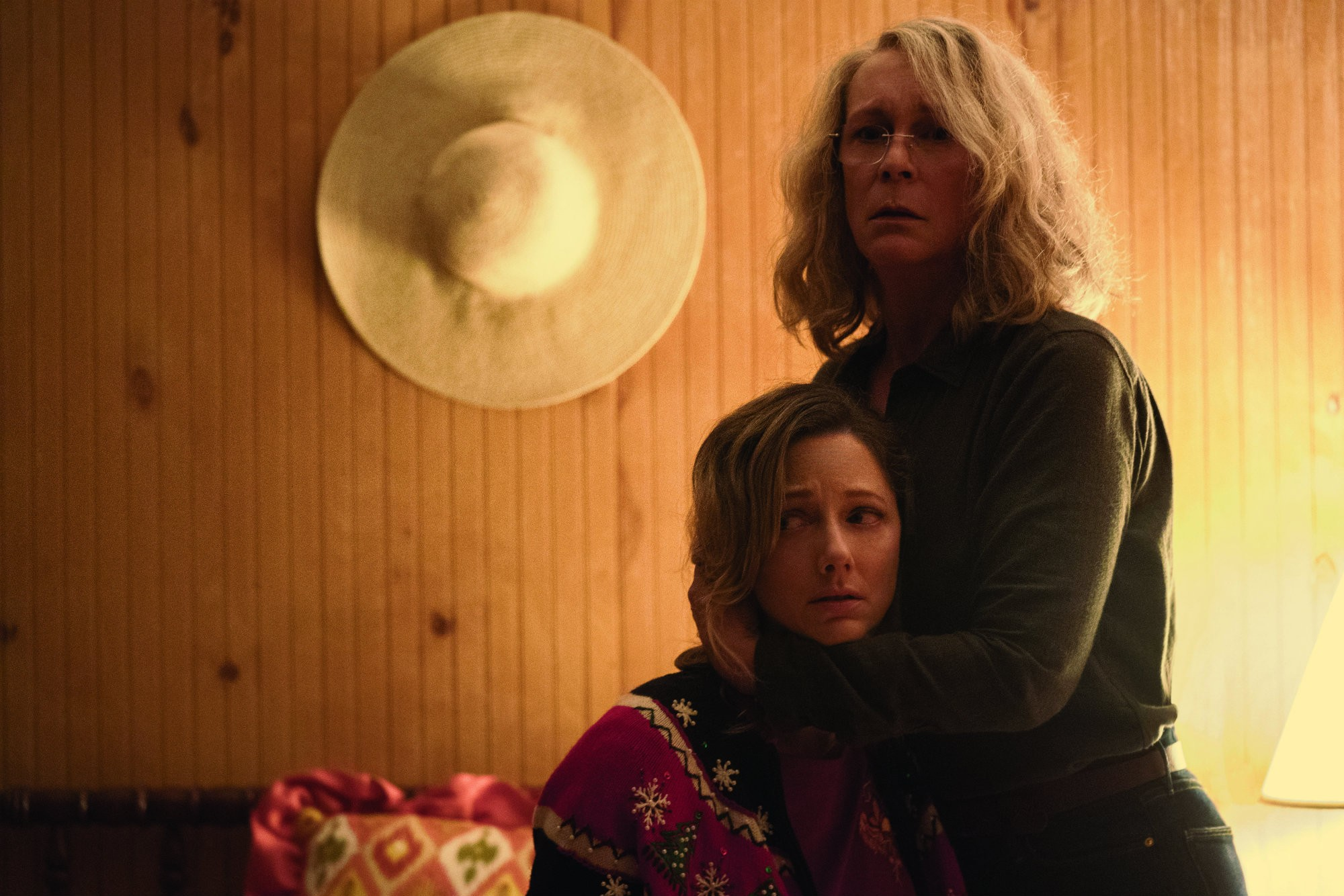 still of Jamie Lee Curtis and Judy Greer in Halloween movie