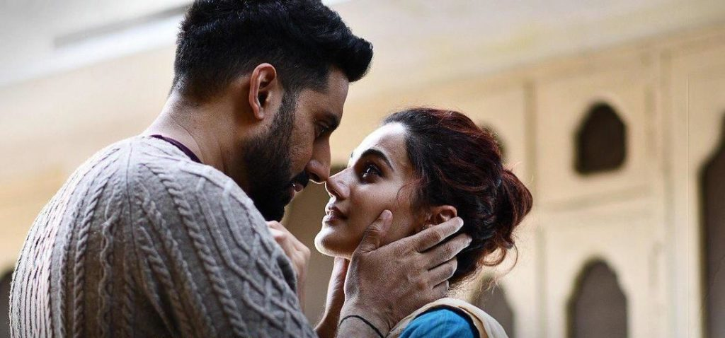 still of Abhishek Bachchan and Tapsee Pannu in Manmarziyaan