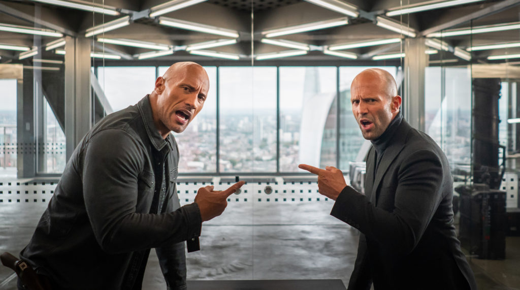 hobbs and shaw pointing fingers in movie