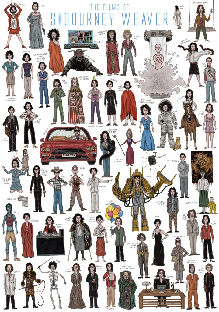 The Films of Sigourney Weaver illustration by John Rooney